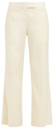 Marina Moscone - Cropped Virgin-wool And Silk-poplin Trousers - Womens - Ivory