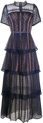 Self-Portrait Fine Lace Tiered Dress
