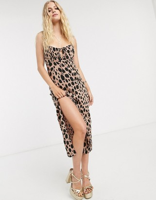 Motel cami maxi dress with thigh split in smudge spot print