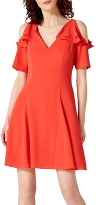 Damsel in a Dress Juna Ruffle Cold Shoulder Midi Dress, Red