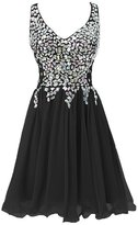 Fit Design Women's Deep V Neck Criss Cross Back Beaded Short Homecoming Dress