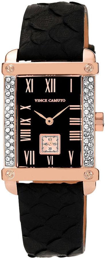 Vince Camuto Watch, Women's Black Python Leather Strap 36x28mm VC-5008RGBK