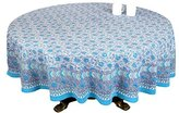ShalinIndia White Brown Floral Print Round Tablecloth - 90 Inch for 6-Seater Table - 100% Cotton Fabric - Made in India