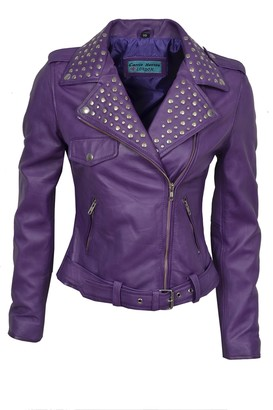 Carrie Hoxton Ladies Domino Rockstar Women's Studded Purple Real Leather Biker Jacket (10)