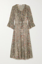 See by Chloe Ruffled Printed Cotton And Silk-blend Crepon Midi Dress