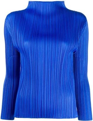Pleats Please Issey Miyake Micro-Pleated Long-Sleeve Top
