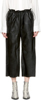 MM6 Maison Martin Margiela Black Faux-Leather Drawstring Trousers