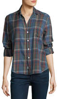 Frank And Eileen Eileen Large-Check Button-Front Shirt, Sky Blue/Navy