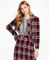 Brooks Brothers Plaid Wool-Blend Cropped Jacket