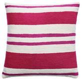 Judy Ross Textiles Cabana Cream/Cerise/Fuchsia Pillow