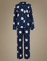 Marks and Spencer Pure Cotton Owl Print Long Sleeve Pyjama Set
