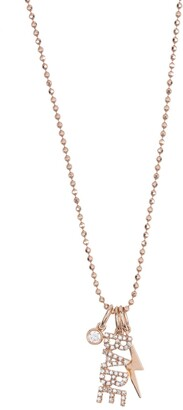 Ef Collection 14K Rose Gold Pave Stone Babe Pendant Necklace