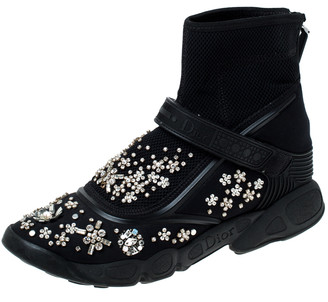 Christian Dior Black Embellished Fabric Techno Fusion High Top Sneakers Size 37