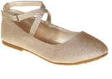 Jelly Beans Gold Macy Ankle-Strap Flat