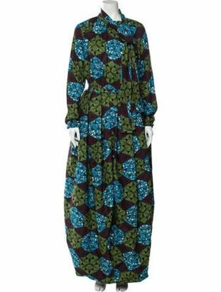 Stella Jean Silk Long Dress Blue
