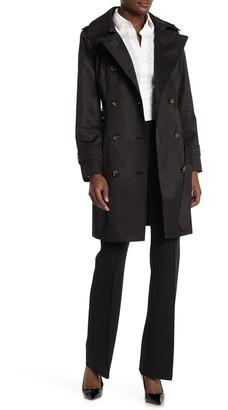 London Fog Hooded Waist Tie Trench Coat