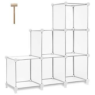 TomCare Cube Storage 6-Cube Bookshelf Closet Organizer Storage Shelves Shelf Cubes Organizer Plastic Square Book Shelf Bookcase DIY Closet Cabinet Organizer Shelving for Home Office Bedroom