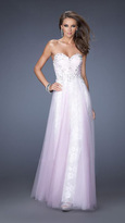 La Femme Long Strapless Sweetheart Dress with Layered Tulle Skirt 19967