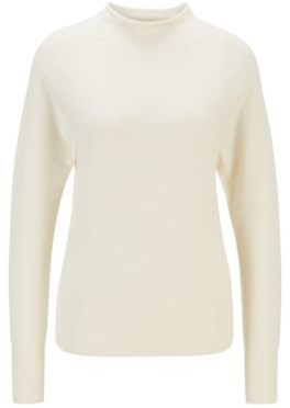 HUGO BOSS Regular Fit Sweater With Funnel Neck In Pure Cashmere - White