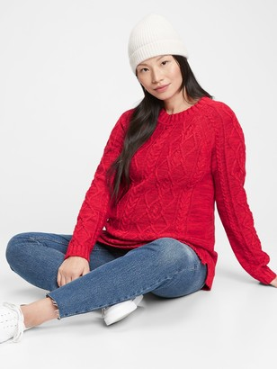 Gap Maternity Cable Knit Crewneck Sweater