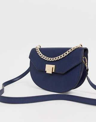Dune Navy Cross Body Bag with Chain Detail