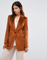 Helene Berman Longline Blazer In Textured Burnt Copper
