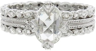 Cathy Waterman Oval Diamond Solitaire on Double Milgrain Seed Platinum Ring
