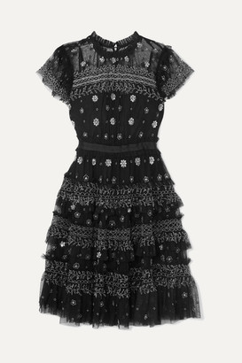 Needle & Thread Andromeda Embellished Tulle Mini Dress - Black