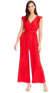 Charter Club Flutter-Sleeve Cropped Jumpsuit, Created for Macy's