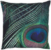 "Eightmood Peacock Feather Throw pillow, Petrol/ Black, 20""x 20"""