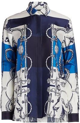 St. John Mariner Scarf-Print Silk Blouse
