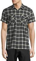 Neil Barrett Short-Sleeve Plaid Flannel Button-Down Shirt