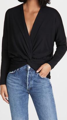 Susana Monaco Long Sleeve Twist Front Dolman Shirt
