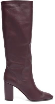 Aquazzura Boogie 85 Block-heel Leather Knee-high Boots - Burgundy