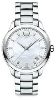 Movado Bellina Diamond, Mother-Of-Pearl & Stainless Steel Bracelet Watch