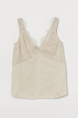 H&M Lace-detail Satin Top - Beige