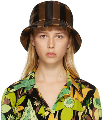Fendi Brown and Black Thick Stripes Woven Bucket Hat