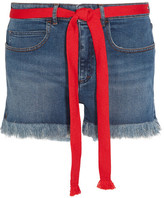 Sonia Rykiel Grosgrain-trimmed Embroidered Frayed Denim Shorts - Blue