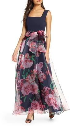 Eliza J Flower Print Gown