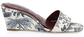STAUD Billie Tropical-Print Canvas Wedge Mules