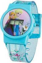 Disney Frozen Children's Digital Display Watch with Pink Dial and Blue Plastic Strap FROZ32
