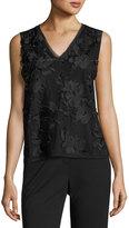 T Tahari Harla Floral-Embroidered Blouse, Black
