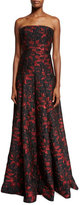 Carmen Marc Valvo Strapless Floral Brocade Ball Gown, Black/Red