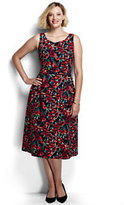 Classic Women's Plus Size Woven A-line Dress-Bright Cherry Floral