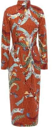 Stella Jean Gathered Cotton-poplin Midi Shirt Dress