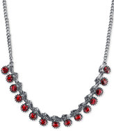 2028 Silver-Tone Red Crystal Collar Necklace