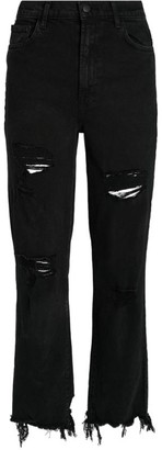 J Brand Jules Distressed High-Rise Straight Jeans