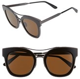 Bottega Veneta Women's 50Mm Retro Sunglasses - Ruthenium/ Ruthenium/ Brown
