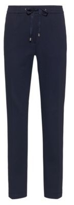 HUGO BOSS Stretch-fabric trousers with logo-tape drawstring waistband
