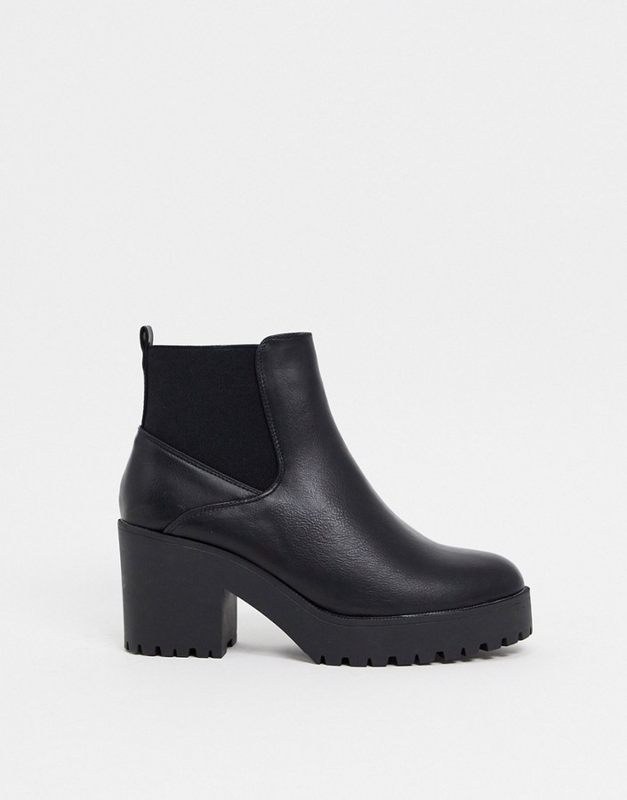 New Look heeled chunky chelsea boot in black